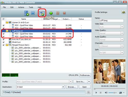 Convert AVI to MOV videos