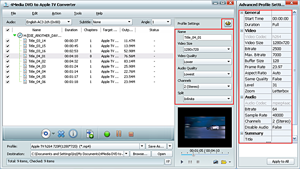 Convert DVD to Apple TV video