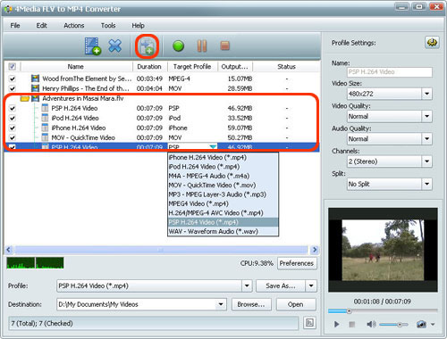 Convert FLV files to MP4