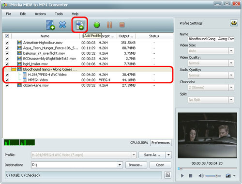 Convert QT MOV to MP4 format