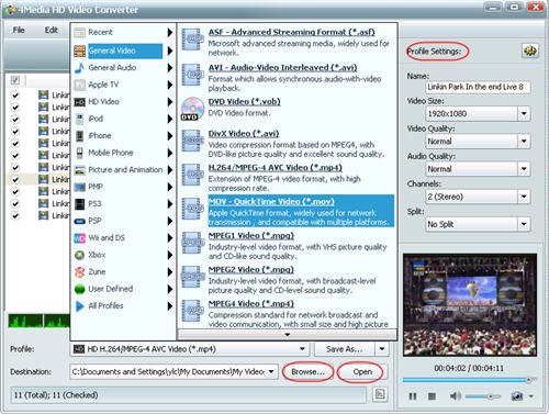 Convert M2TS HD to MOV, M2TS to MOV Video Converter